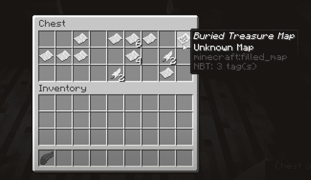 Inventory swap of buried treasure map
