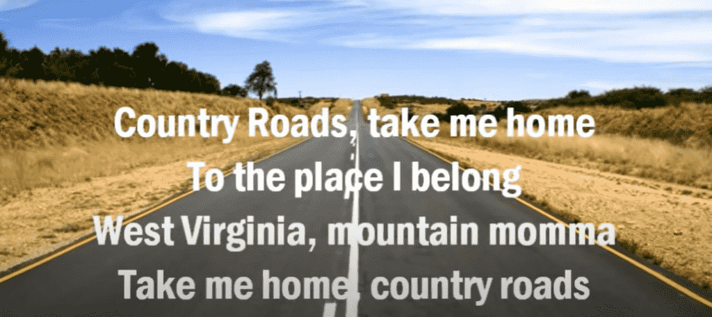 country roads song ID