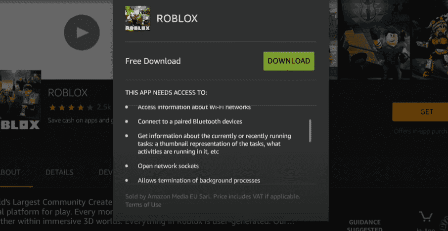 roblox requirements amazon fire os