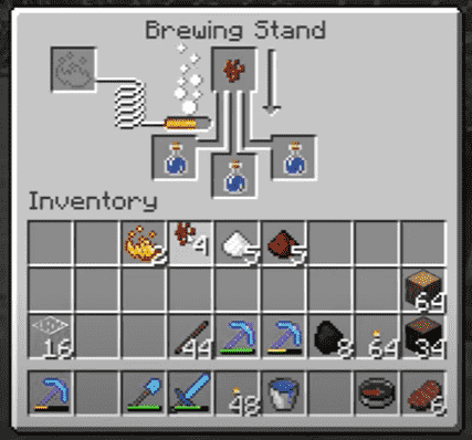Using brewing stand respiration minecraft