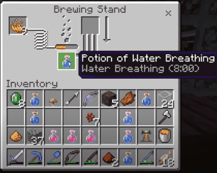 Crafting breathing potion respiration minecraft