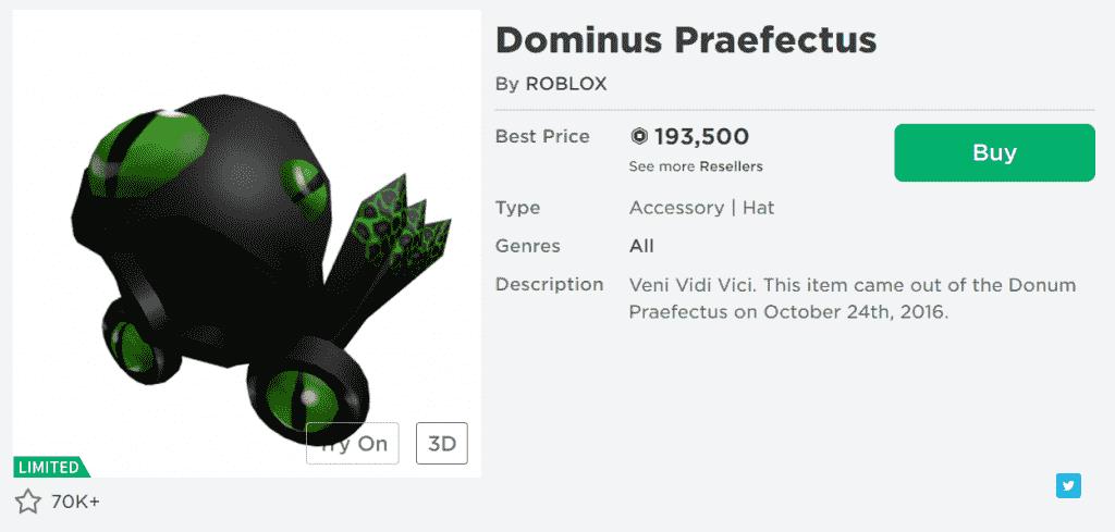 Roblox Hat ID dominus praefectus