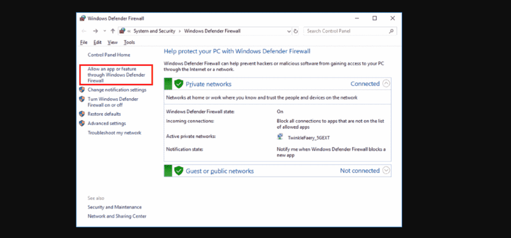 Windows firewall allows