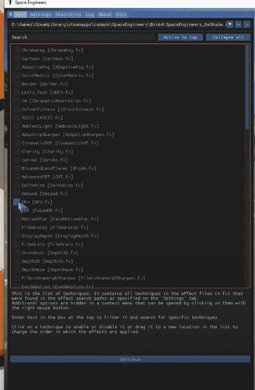 Adjusting the settings in Reshade