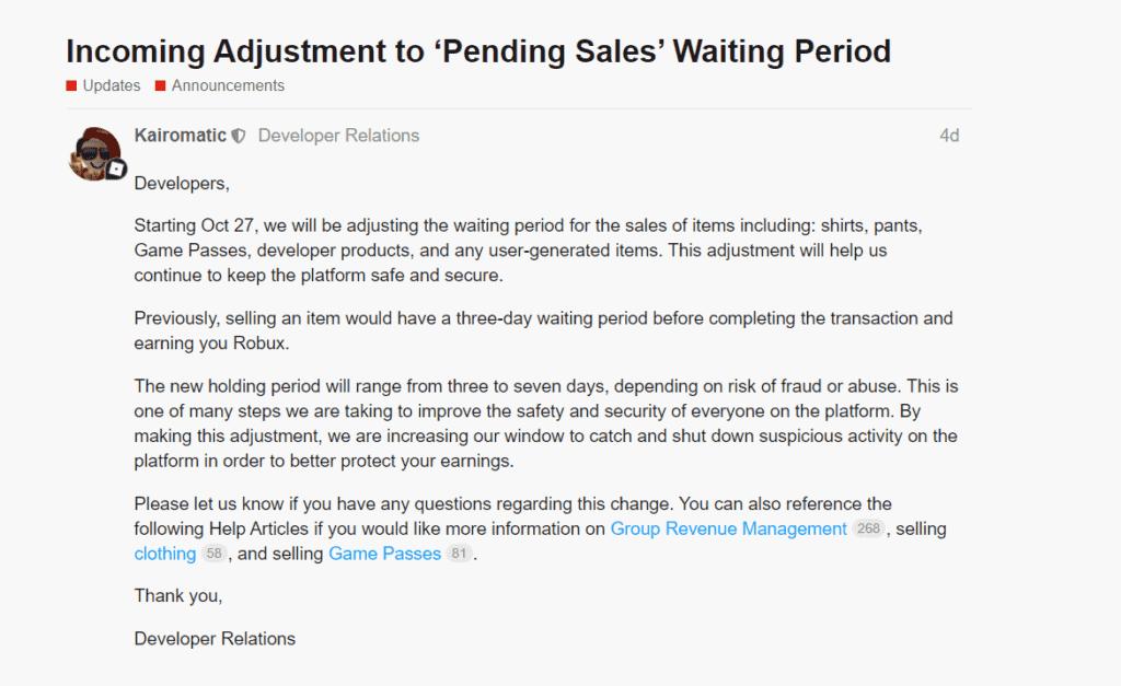 Roblox pending sales update seven days